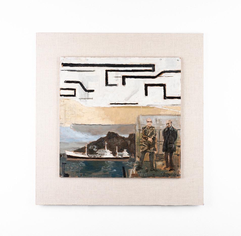 Simon Stone | Two Men + a Ship | 2020 | Oil on Cardboard | 31 x 32 cm