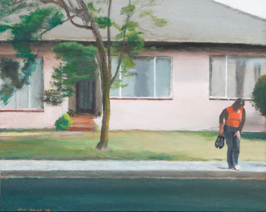 Clare Menck | Self-Portrait with Pink House, Bellville II | 2010 | Oil on Board | 31.5 x 40 cm