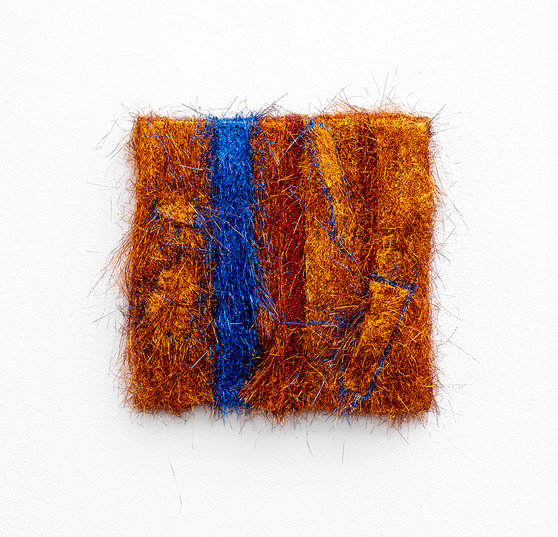 Galia Gluckman | Soirée Series (she liked to be called Priscilla) | 2020 | Angel Hair and Bonding Tape on Board | 30 x 30 x 6 cm