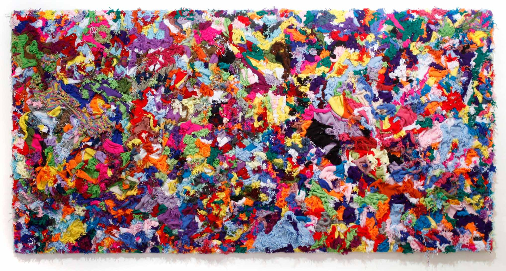 Barend de Wet | Maximal Large Knitting II  | 2012 | 100% Acrylic Wool and Paint on Board | 123 x 245 cm