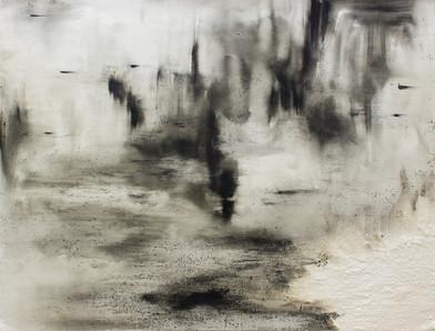 Alexandra Karakashian | Ground X | 2016 | Oil and Salt on Paper | 140 x 99 cm