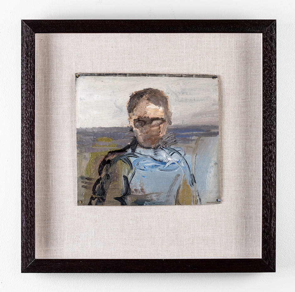 Simon Stone | Man with Blue Shirt | 2017 | Oil on Cardboard | 20 x 22 cm