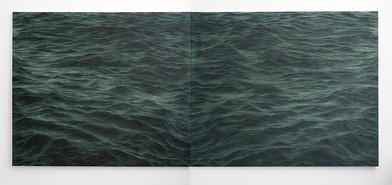 Jake Aikman | Janus (Lago di Bracciano) | 2016 - 2017 | Oil on Canvas | 165 x 400 cm