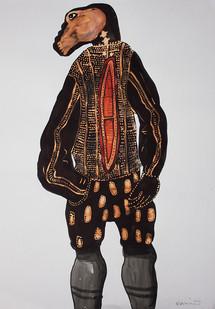 Colbert Mashile | Leloko I | 2014 | Ink, Watercolour and Bleach on Paper | 63 x 45 cm