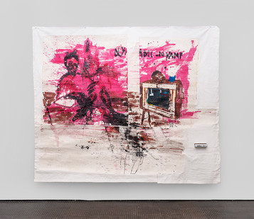 Gareth Nyandoro | Revolution will be televised | 2019 | Ink on Paper Mounted on Canvas and TV Decoder | 215 x 267 cm