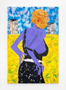 Lwando Dlamini   Movie Character II   2021   Oil, Charcoal, Spray Paint and Newspaper on Canvas   150 x 100 cm