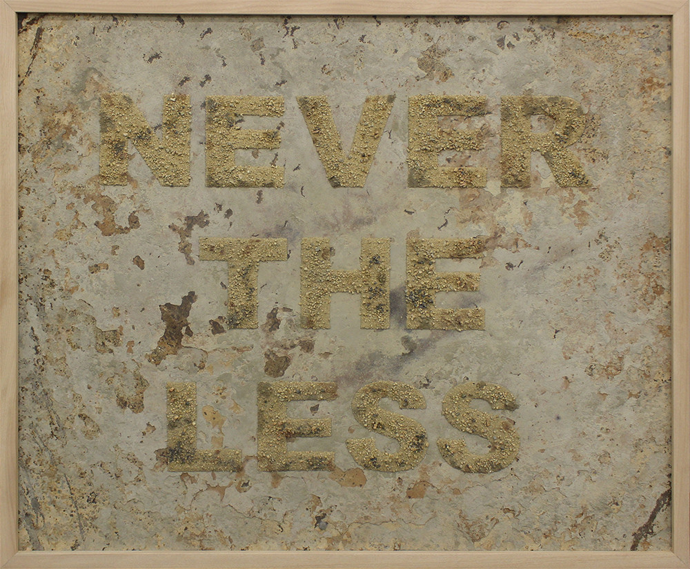 Willem Boshoff   Never the Less   2015   Sand on Metal   109.5 x 129.5 cm