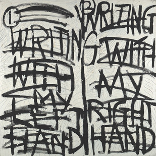 Kevin Atkinson | Writing with My Left Hand, Writing with My Right Hand | 1975 | Oil on Canvas | 168 x 168 cm
