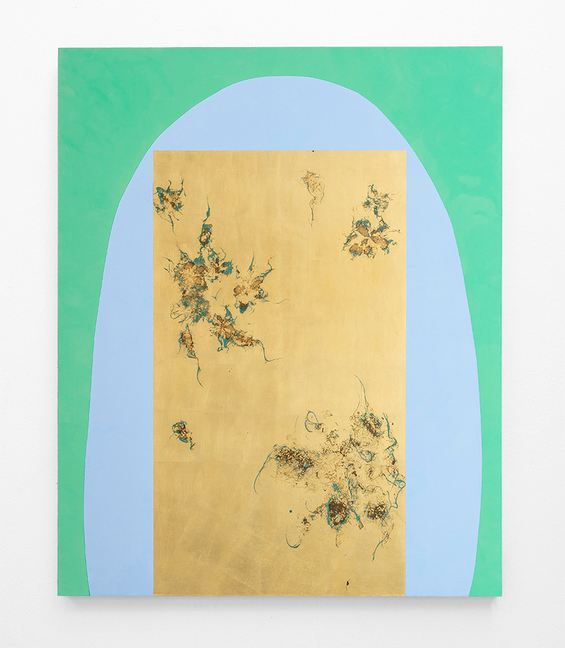Pierre Vermeulen | Hair orchid sweat print cyan shape with verdigris | 2020 | Sweat, Gold Leaf Imitate, Shellac and Acrylic on Belgian Linen | 150 x 120 cm