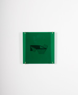 Helen A Pritchard | Free Form Relief | 2014 | One Cardboard Freeform, Green Perspex, Four Brass Fittings | 30 x 30 cm