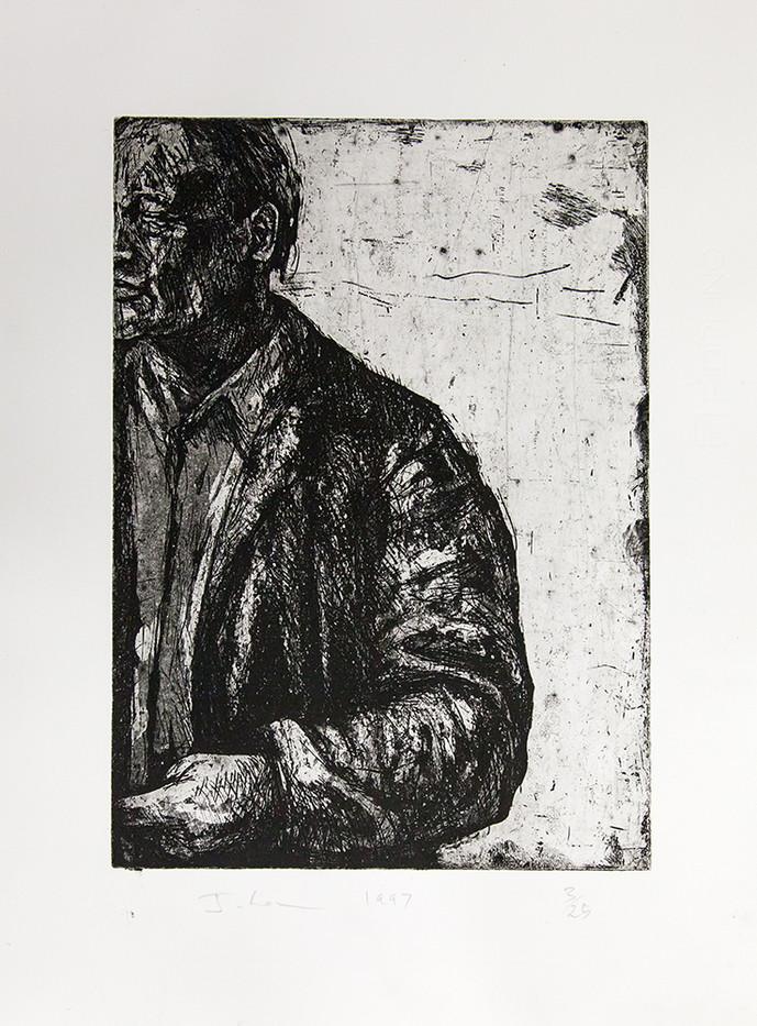 Johann Louw | Groot Figuur, Op Rand | 1997 | Etching | 50 x 35.5 cm | Edition of 25