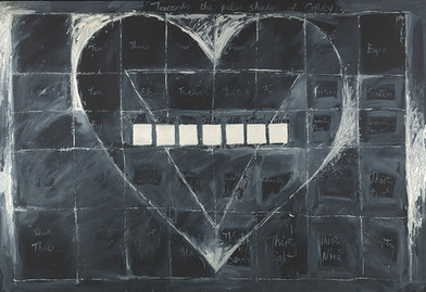 Kevin Atkinson   Towards the Paler Shades of Grey   1975   Blackboard and Oil on Canvas   168 x 244 cm