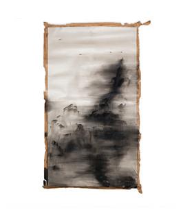 Alexandra Karakashian | Weep I | 2017 | Oil and Salt on Sized Paper | 285 x 165 cm