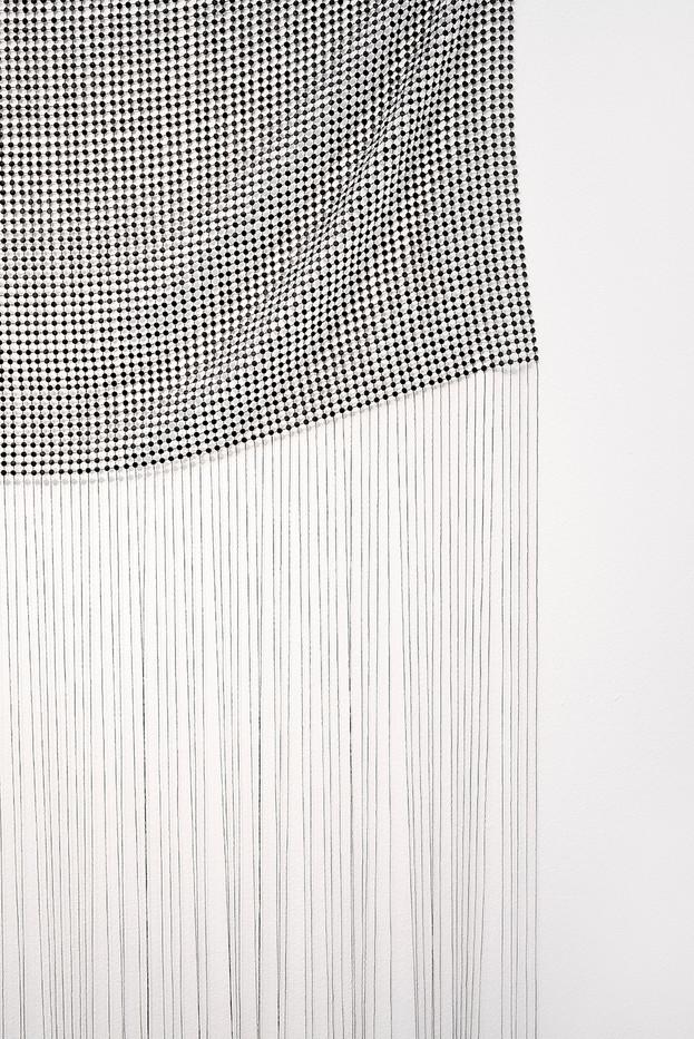 "Bonolo Kavula | ""Sewedi"" (Detail) | 2020 | Acrylic, Punched Canvas, Thread | 208 x 110 cm"