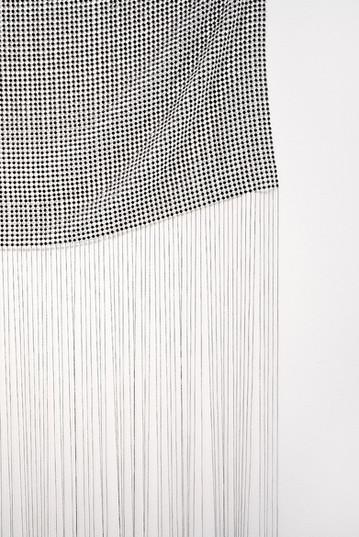 "Bonolo Kavula   ""Sewedi"" (Detail)   2020   Acrylic, Punched Canvas, Thread   208 x 110 cm"