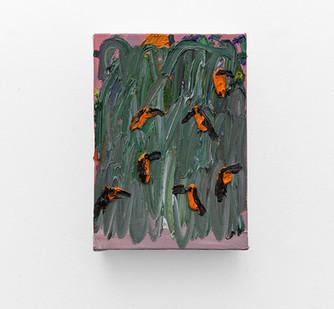 Georgina Gratrix | In Search of Parrot Emoji | 2017 | Oil on Canvas | 36 x 25.5 cm