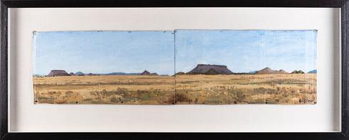 Simon Stone | Double Register Karoo Landscape | 2017 | Oil on Board | 19.5 x 76 cm