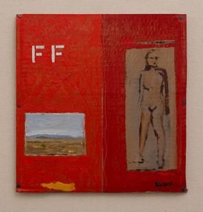 Simon Stone   FF (Fuck Fracking)   2016   Oil on Cardboard   27 x 26 cm