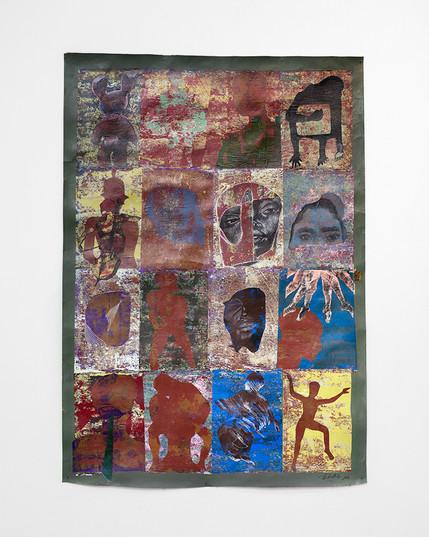 Ronald Muchatuta   Thessalonia Green IV   2021   Acrylic on Paper   170 x 118 cm