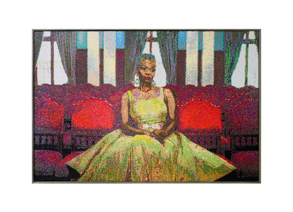 Frances Goodman | The Red Room | 2020 | Hand-Stitched Sequins on Canvas | 95 x 140.5 x 7 cm