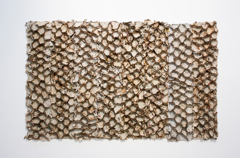 Sandile Zulu | Index | 2014 | Fire, Air, Earth, Water and Newspaper on Board | 86 x 150 cm