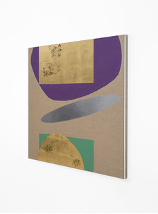 Pierre Vermeulen   Hair orchid sweat print, violet and green with mirror pool (Side View)   2018   Sweat, Gold Leaf Imitate, Shellac and Acrylic on Belgian Linen   104.5 x 90 cm