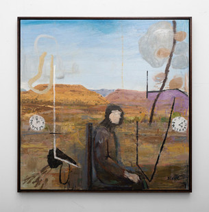 Simon Stone | Man In Karoo | 2016 | Oil on Board | 78 x 78 cm