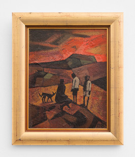 Peter Clarke | Figures at Sunset | 1969 | Oil on Board | 34 x 26.5 cm