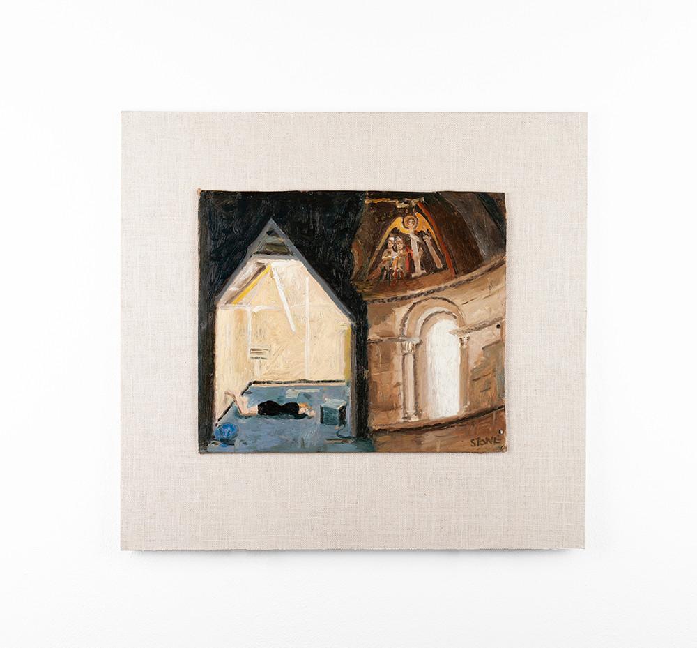 Simon Stone | Refuge | 2020 | Oil on Cardboard | 24.5 x 28.5 cm