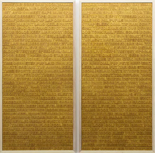 Willem Boshoff | About-Face: English/English | 2015 | Wood | 219 x 105 cm Each