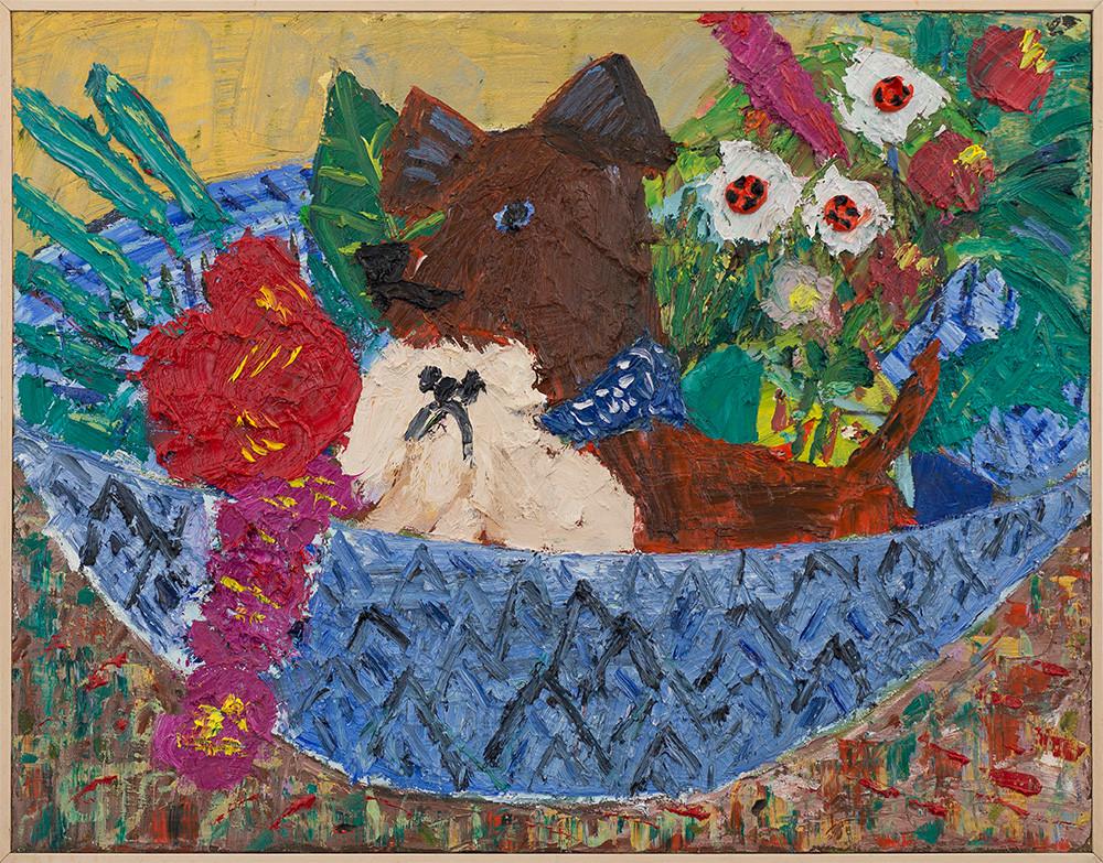 Georgina Gratrix | Puppy Basket | 2017 | Oil on Canvas | 70 x 90 cm