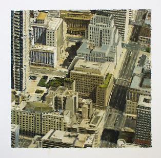Simon Stone | Joburg, Aerial | 2015 | Oil on Paper | 27 x 27 cm
