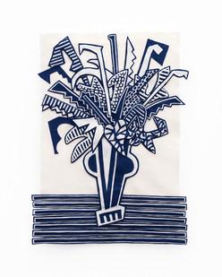 Jody Paulsen | Midnight Blue and Ivory III | 2020 | Felt Collage | 79 x 59.5 cm