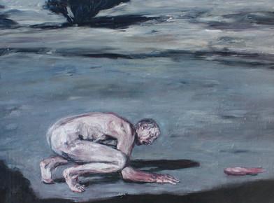 Johann Louw   Kruipend   2013   Oil on Plywood   144 x 185 cm