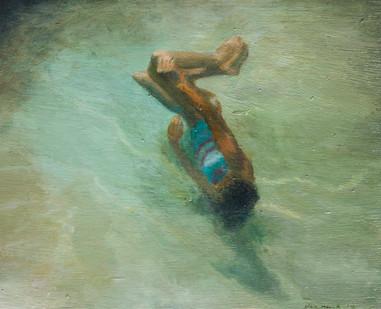 Clare Menck | Swimmer (Frauke) | 2012 | Oil on Board | 20 x 25 cm