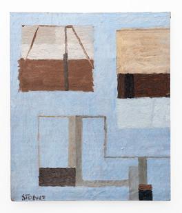 Simon Stone | Blue Shelf | 2018 | Oil on Cardboard | 29 x 24.5 cm