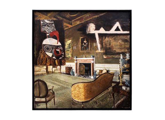 Simon Stone | Interior with Mask | 2019 | Encaustic on Board | 111 x 111 cm