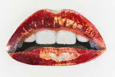 Frances Goodman | Cherry Kiss | 2018 | Hand-Stitched Sequins, Canvas, Foam, MDF | 60 x 104 x 11 cm | Edition of 3 + 1 AP