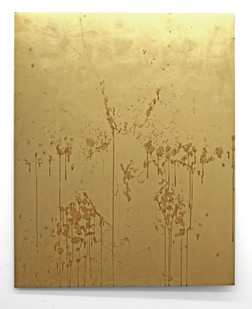 Pierre Vermeulen | Orchid Study in Sweat nr. 5 | 2017 | Gold Leaf Imitate on Aluminium, Sweat | 150 x 115 cm