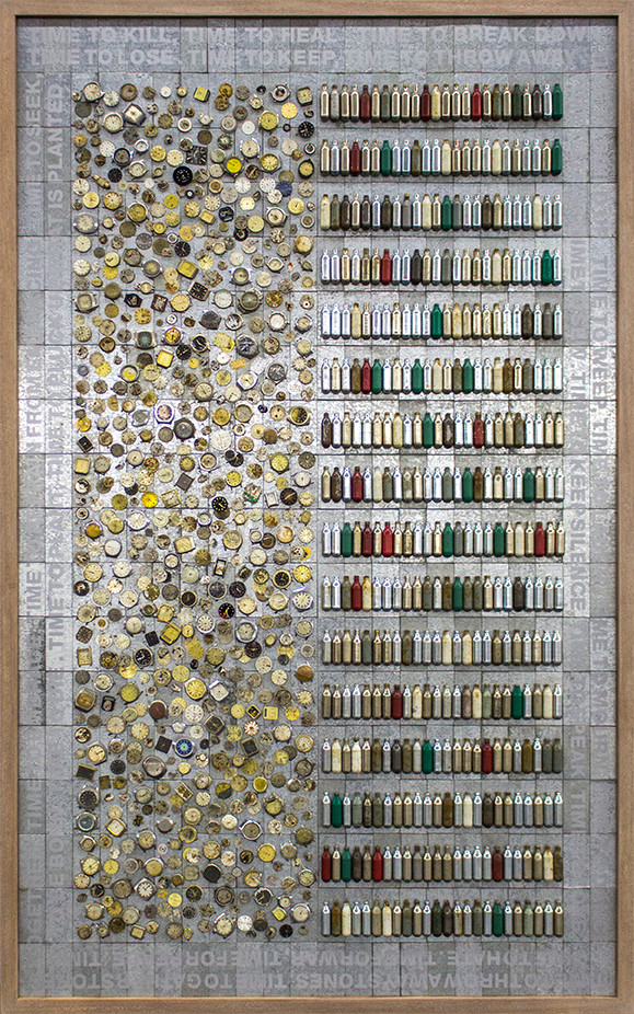 Willem Boshoff   Time to Kill   2015   Metal Plates, Wrist Watches and Gas Ampoules   184 x 111.5 x 5 cm