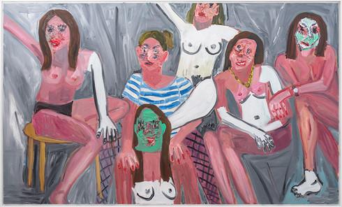 Georgina Gratrix | Girls Girls Girls | 2019 | Oil on Canvas | 154.5 x 255 cm