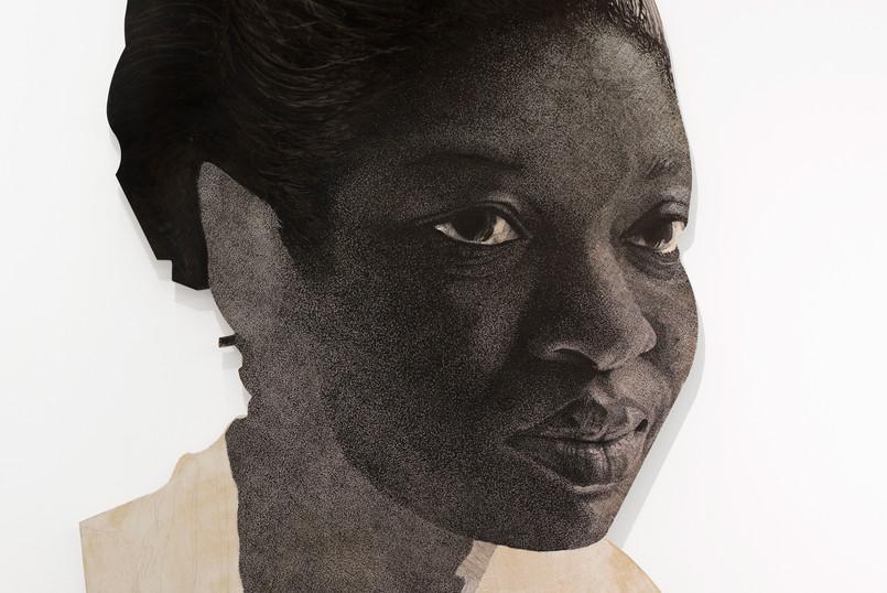 """Luyanda Zindela   """"Ngizokuthandazela"""" (I will pray for you)   Detail    2021   Acrylic Paint Marker on Pine Board   200 x 130 cm"""