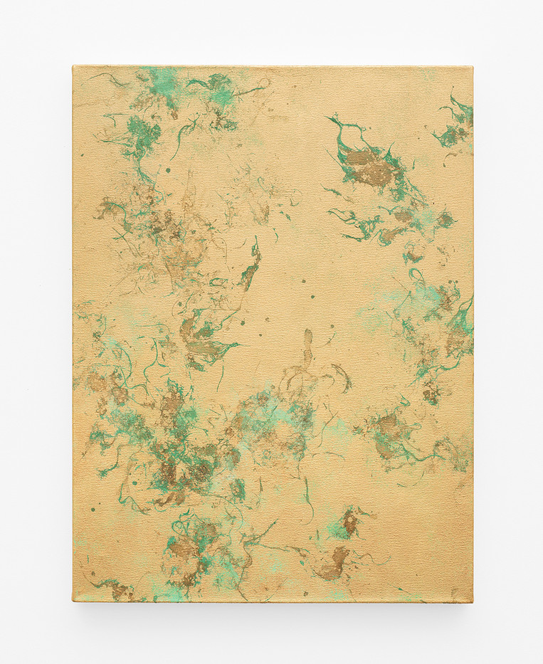 Pierre Vermeulen | Hair orchid sweat print, verdigris | 2020 | Gold Leaf Imitate, Acrylic and Sweat on Linen | 80 x 60 cm