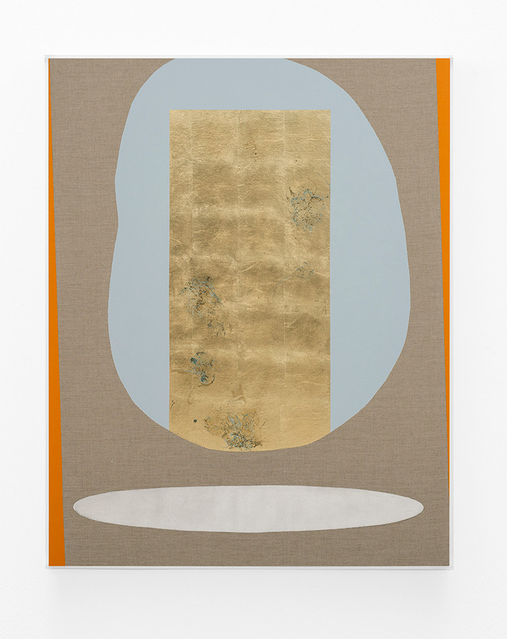 Pierre Vermeulen | Hair orchid sweat print, blue and orange with mirror pool | 2018 | Sweat, Gold Leaf Imitate, Shellac and Acrylic on Belgian Linen | 150 x 120 cm