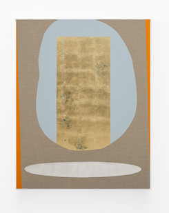 Pierre Vermeulen   Hair orchid sweat print, blue and orange with mirror pool   2018   Sweat, Gold Leaf Imitate, Shellac and Acrylic on Belgian Linen   150 x 120 cm
