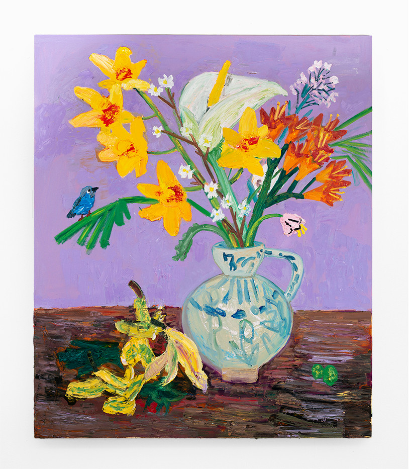 Georgina Gratrix | Spring Arrangement with Blue Waxbill and Clivia | 2020 | Oil on Canvas | 215 x 185 cm