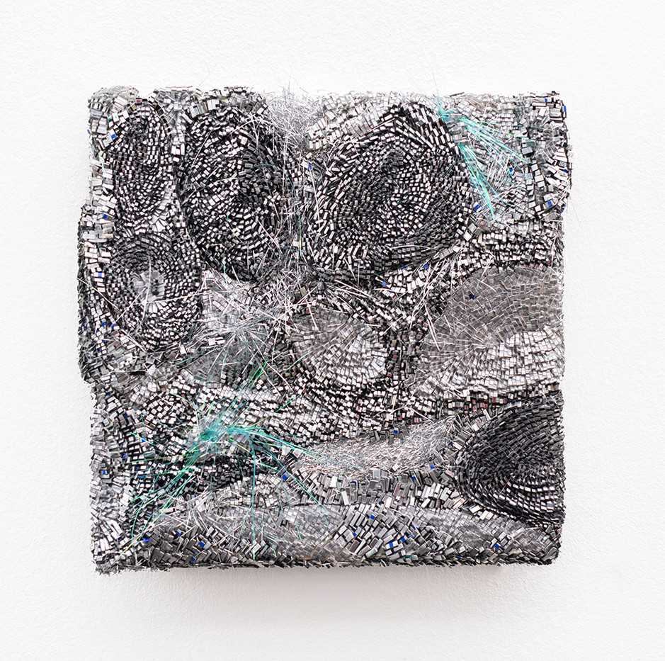 Galia Gluckman | the shift (1) | 2020 | Construction with Canvas, Textured Paper, Acrylic, Angel Hair, Balsa Wood, Bonding Tape on Board | 26 x 26 cm