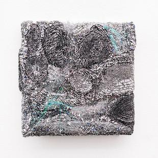 Galia Gluckman | the shift (1) | 2020 | Construction with Canvas, Textured Paper, Acrylic, Angel Hair, Balsa Wood, Bonding Tape on Board | 26 x 26 cm