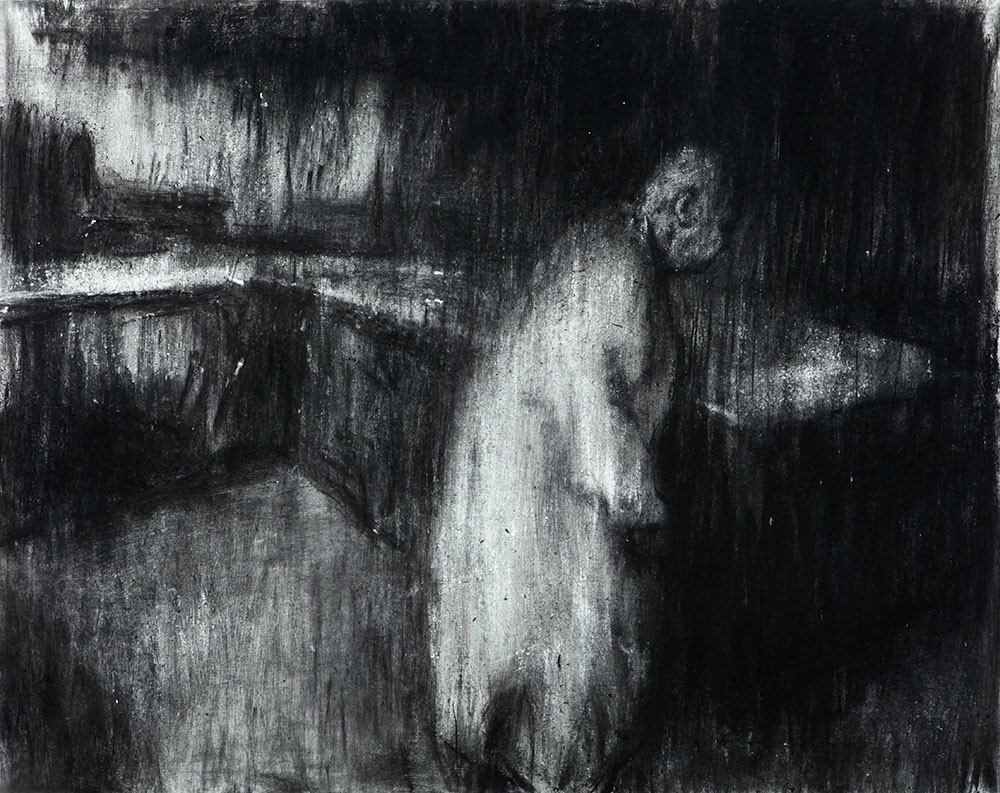 Johann Louw | Figuur in Interieur I | 2014 | Charcoal on Paper | 124 x 159 cm