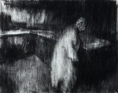Johann Louw | Figuur in Interieur I | 2014 | Charcoal on Paper | 124 x 159 cm